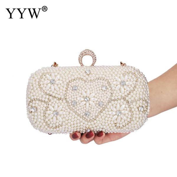 Bolso de noche con perlas de diamantes con perlas, una bolsa de diamantes, diamantes de imitación, mujeres, bolsos de fiesta / bodas, bolsos de fiesta, anillos de embrague, puros