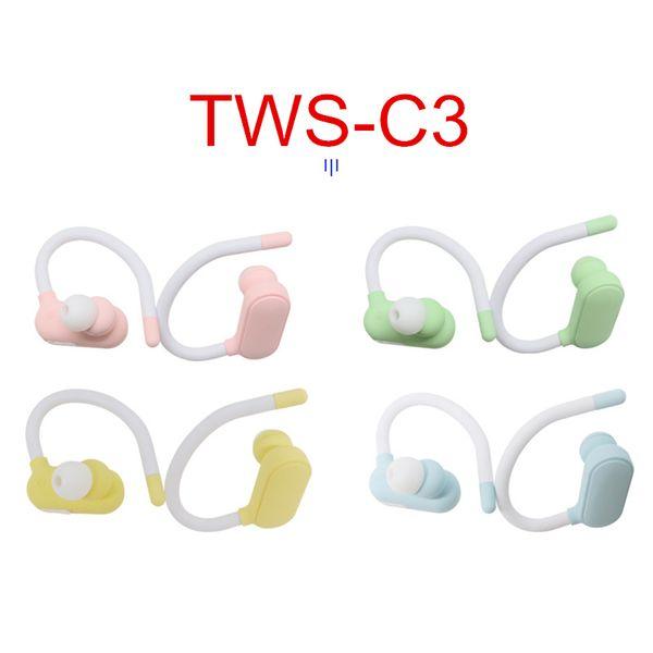 Novo TWS-C3 Macaron sem fio Bluetooth 5.0 Fone de ouvido Fones de ouvido coloridos doces Gancho de ouvido Hi-Fi Stereo Headphones Sport Running Business Headset
