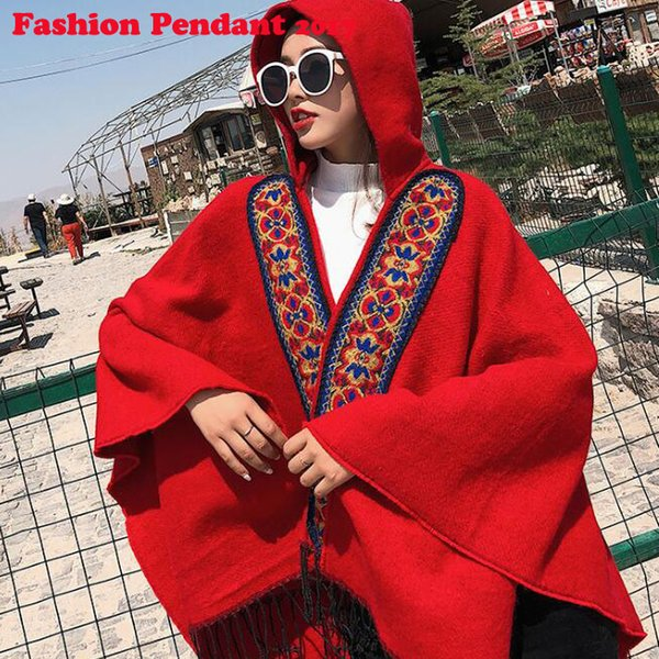 Winter Warm Poncho For Women Red Geometric Cape Femme Noble Mantles Lady Coat Tippet 150*130cm shawls Free Shipping