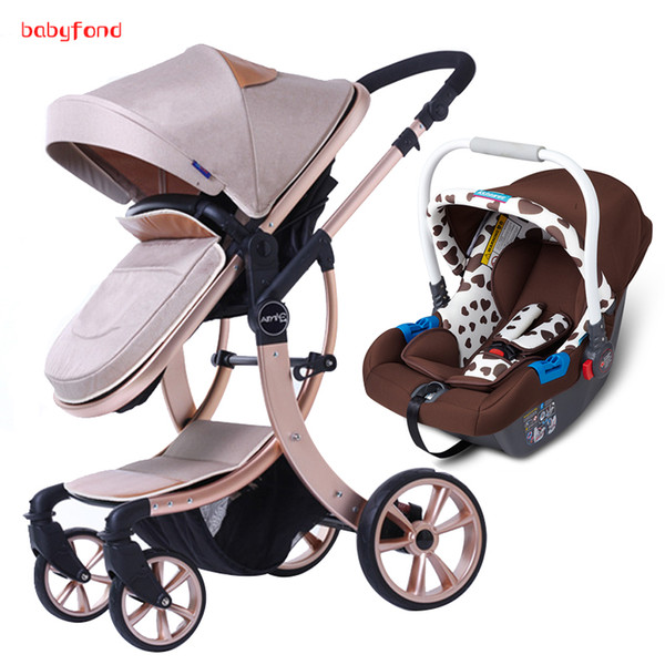 2018 new 3 in 1 baby carriage with high land cape baby troller can it and lie with car eat hockproof