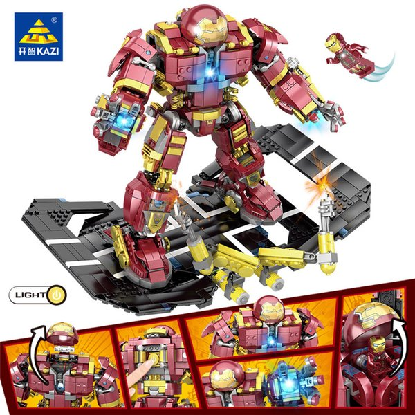 KAZI 1620Pcs LegoINGS Super Heroes Iron Man Hulk Buster Figures Robo Warriors Building Blocks Educational Toys for children