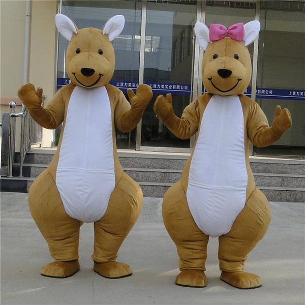 2019 Tamaño adulto de alta calidad Traje de mascota de canguro encantador Mascota por encargo Disfraces Disfraces Disfraces de animales Disfraces de fiesta
