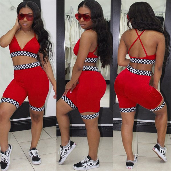 Women Summer 2 Piece Set Crop Bra Top and Biker Shorts Sweat Suit Tracksuit Sexy Club Beach Bikini Outfit Mosaic Matching Sports Suit C5905