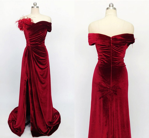 Amazing Feather Flowers Velvet Evening Homecoming Dresses Off the shoulder with Sleeves Slit Prom Bridesmaid Dresses A line Formal Gowns