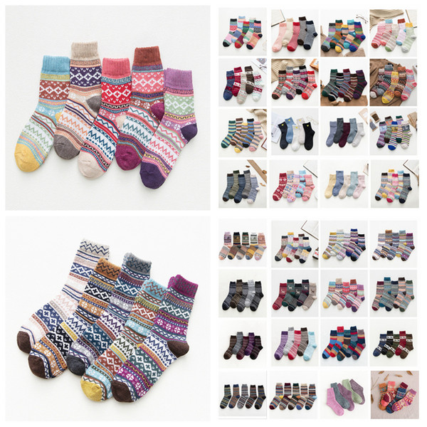 top popular Women National style Sock Wool Socks Winter Thermal Warm Socks Female Crew Ladies Colorful Thick Socks 5pairs lot LJJA3356-11 2021