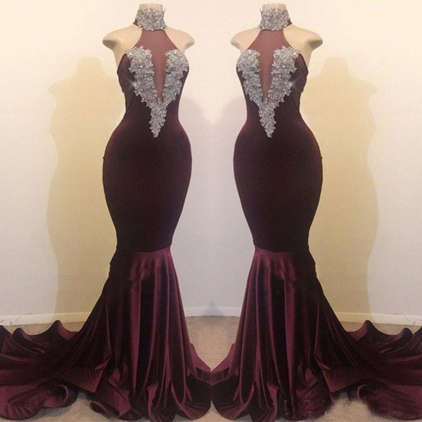 Burgundy Prom Dresses Real Images 2019 Sexy High Neck Mermaid 2K19 Party Vestidos Beaded Sequins Long Celebrity Gowns