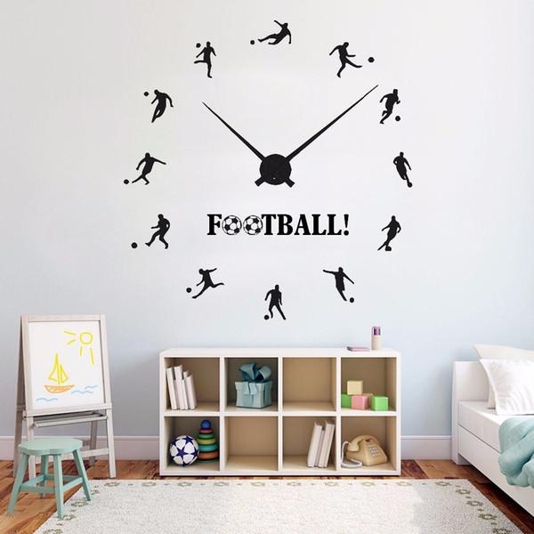 Acheter Football Horloge Stickers Muraux En Vinyle De Football Sport Sticker Mural Garçons Adolescent Salle Décoration Joueurs De Football Mur Affiche