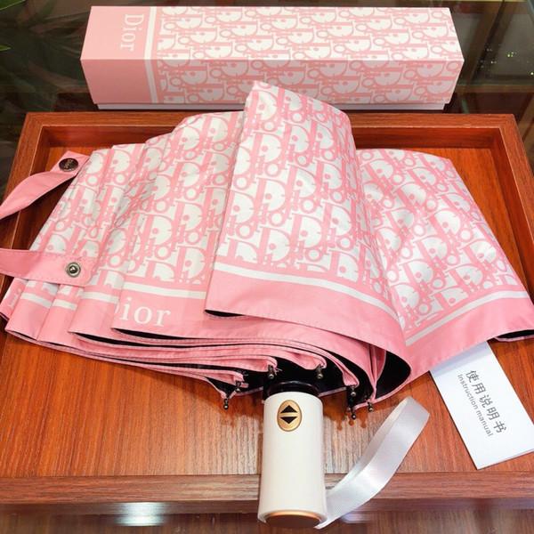 Paraguas de lluvia impreso con logotipo de lujo Paraguas plegable completamente automático creativo Protección contra la sombra UV Paraguas soleados para regalo