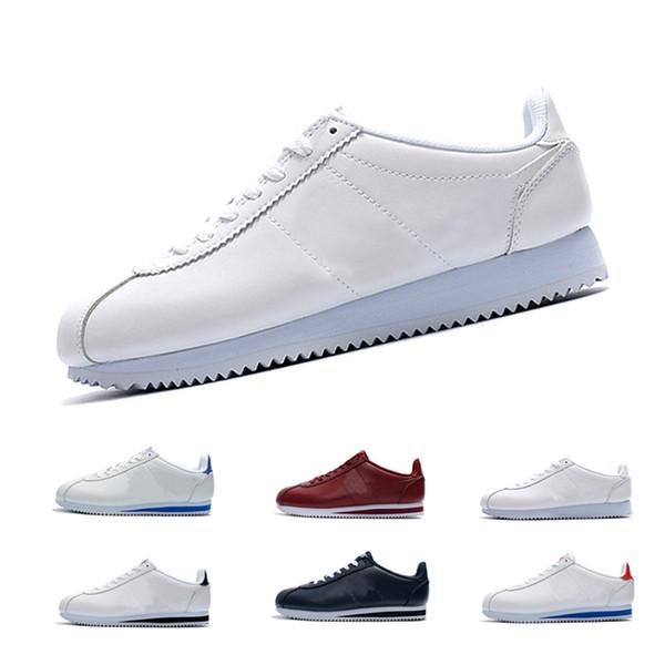 Unisex Primavera / otoño Clásico Cortez Zapatos de cuero casuales para hombres zapatillas de deporte de moda cómoda con cordones Zapatos adultos para correr zapatos hombre