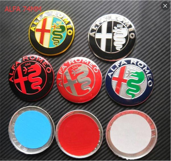mix 20pcs 3D Nuovo Car Styling 74mm Oro Nero Argento ALFA ROMEO Anteriore Bonnet / Boot Badge / Emblem Sticker