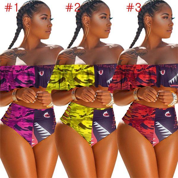 Women Designs Swimwear Flounce Bra + Shorts Hipster Bikini Set 2 Piece Stripless Swimsuit Camo Shark Beachwear Swim Bath Suit Cloth D6204