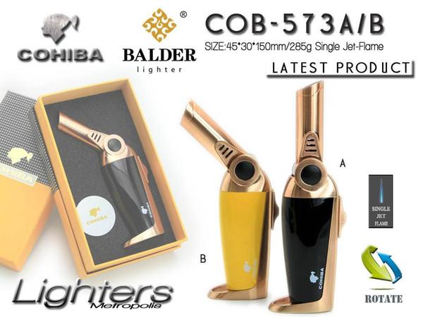 Nouvelle Arrivée COHIBA Multifonctionnel Flamme Briquet Coupe-Vent Rechargeable Butane Gaz Cigar Jet Briquet Deux Couleurs Torche Avec Boîte-Cadeau