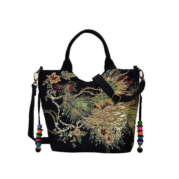 Ethic Women Embroidered Shoulder Bag Vintage Canvas Peacock Pattern Embroidery Handbag Handbags Crossbody Messenger Bags Tote Y19061803