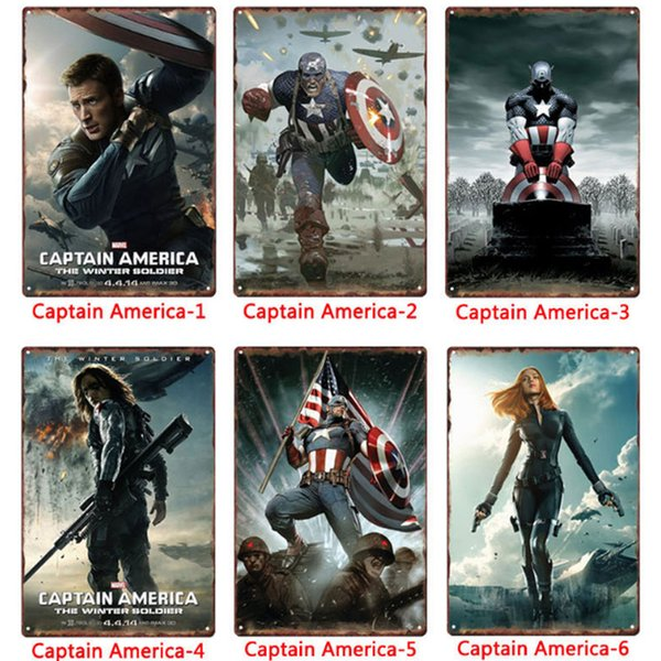 Wholesale Metal Tin Signs Painting Marvel Captain America Wall Stickers Art Decoration Iron Painting Plaque 20*30cm Wall Decor Art Pictures