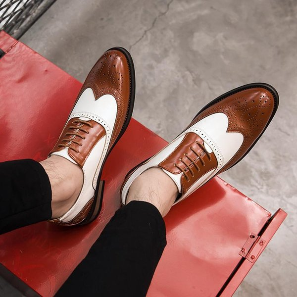 New Mixed Colors Men Shoes Vintage British Cow Leather Formal Dress Shoes Carved Brogue Business Casual Wedding Banquet Shoes