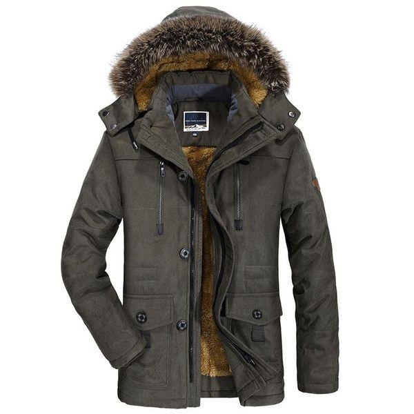 Mens Новая мода Зимняя куртка мужчин Толстые вскользь куртки и пиджаки мужские меховой воротник ветрозащитный ветровки Плюс Размер 6XL Velvet Теплое пальто