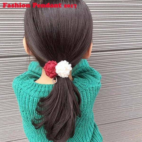2019 Cute Little Girls' Pompom Hair Ties Double Pom Pom Elastic rubber Band Ropes Hair Accessories for women free shipping