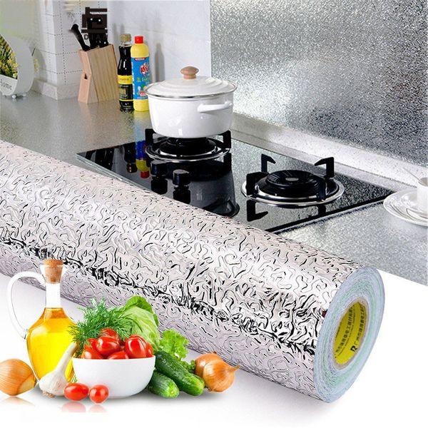Küche Wand Herd Aluminiumfolie ölbeständige Aufkleber Anti-Fouling Hochtemperatur-selbstklebende croppable Wandaufkleber 40 * 100 cm Home Decor
