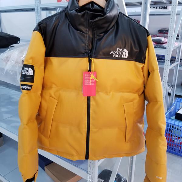 2020 Luxe Hommes Femmes Parka Doudoune Veste en cuir PU manteau d'hiver épais Veste chaud Fermeture à glissière extérieure Garder la mode coupe-vent de la B103520L
