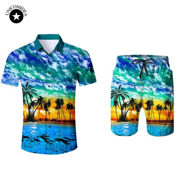 Herren Kurzarm Hawaiihemd und Shorts Sommer Plam Baum lässig Strand Hawaii Shirts Shorts Hosen Zweiteiler Männer