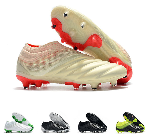 With Bag/Box Mens Copa 19+ FG Soccer Shoes for Men's Cleats Football Boots Male Slip on Chaussures Men Outdoor Shoe Boys Teenage