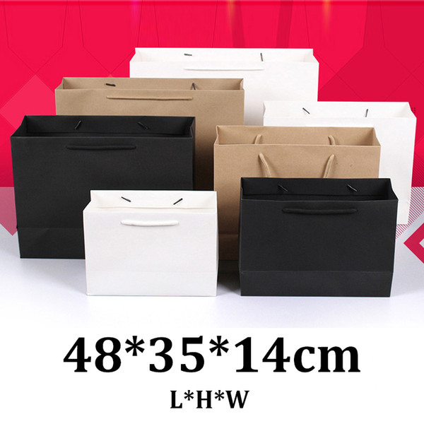 48x35x14cm horizontal black white cardborad brown kraft paper bags with logos for shopping