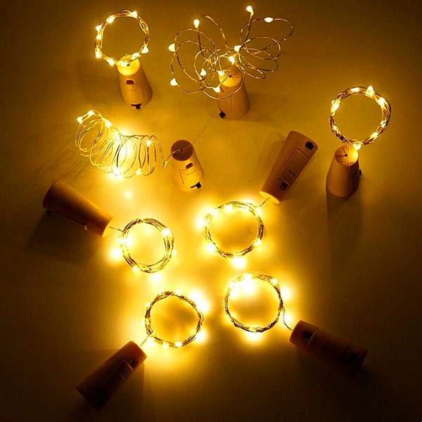 10pcs/lot 2m 20leds Wine Bottle Stopper String Waterproof Copper Fairy Strip Diy Cork Led Light For Wedding Party Christmas Q190603