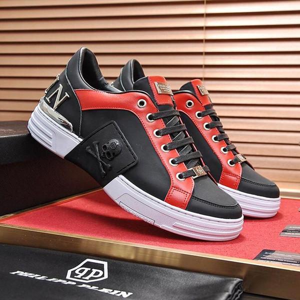 2018 PhilippPleinPP Mens Shoes Fashion Sneakers Luxury Herren Schuhe Phantom Kick$ Lo Top Mixed Materials With Origin Box Zapatos De Ho From