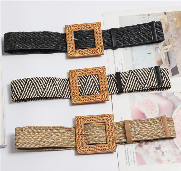 Female Knitted Wax Rope Wide Elastic Braided Belt Women Vintage Square Big Pin Buckle PP Straw Handmade Black Waist Belt 621
