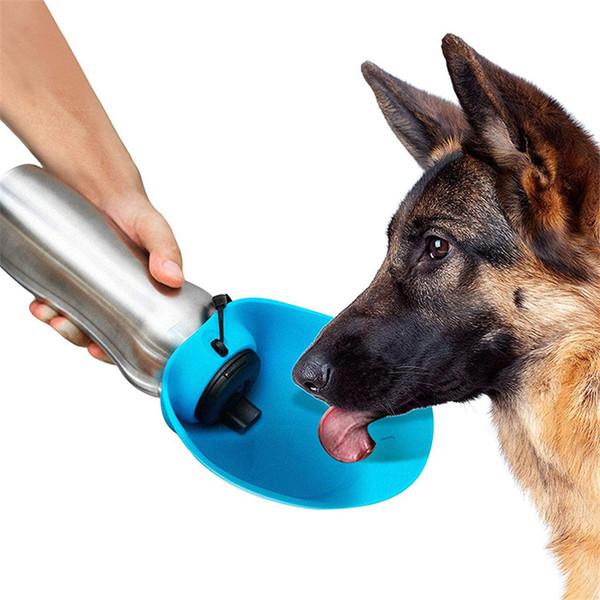 20 oz Borraccia per cani in acciaio inox con vaschetta in silicone per esterno Cucciolo portatile per cani Pet bottiglia per Walking Travel Water Bowl per cani