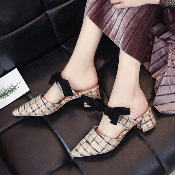 Mode Tissu À Carreaux Tige Femmes Talons hauts Chaussures Bout pointu Slip On Slingbacks Chic Noir Papillon-noeud Dames Pompes Mules