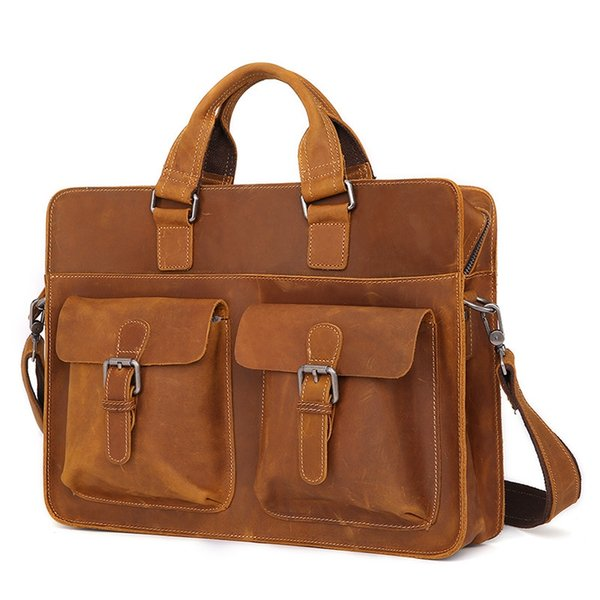 Vintage Natural Crazy Horse Leather Briefcase Multi Function Genuine Leather Men Handbags High Grade Casual Business Briefcases #786930