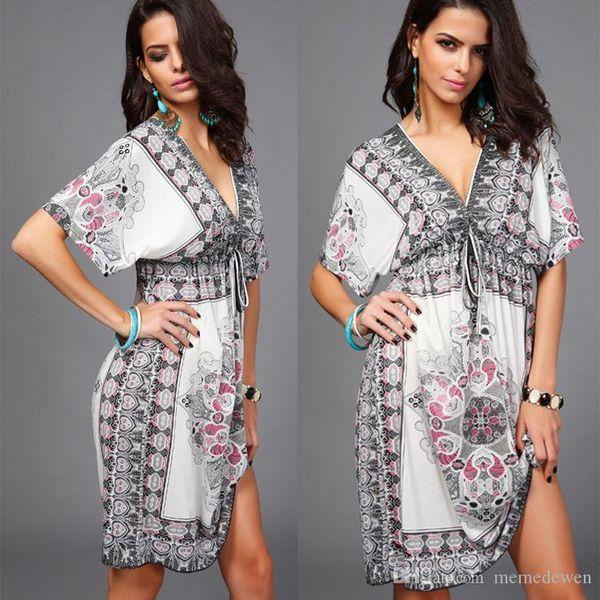 sexy v neck Imitation silk beach dress holiday skirt 7 colours 2017 summer women dresses shirts plus size LM-166