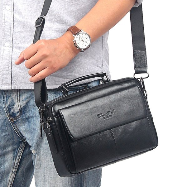 Famous Brand Men's Genuine Leather First Layer Business Messenger Shoulder Cross Body Bag Male Tote Handbag Purse Briefcase Bags Y190701