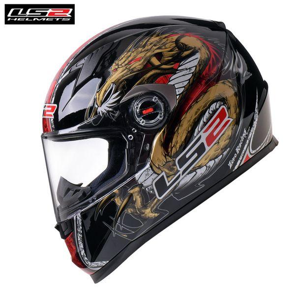 LS2 Black Dragon Full Face Casco de motocicleta Racing Casque Casco Capacete Moto FF358 Cascos Helm Caschi para moto