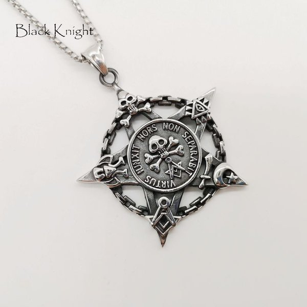 Black Knight Stainless steel Vintage silver chain circle skull star pendant necklace Gothetic mens skull star necklace BLKN0766