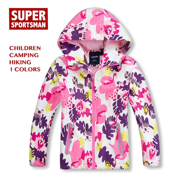 Baby Girl Floral Waterproof Jackets Children Hooded Fleece Softshell Kids Windbreaker Hiking Winter Coat Toddler Camping Clothes