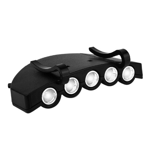 Night Fishing Headlight 5 LED Hat Clip Daily Water Resistant Battery Operated Cap Lighting Outdoor Camping Tool