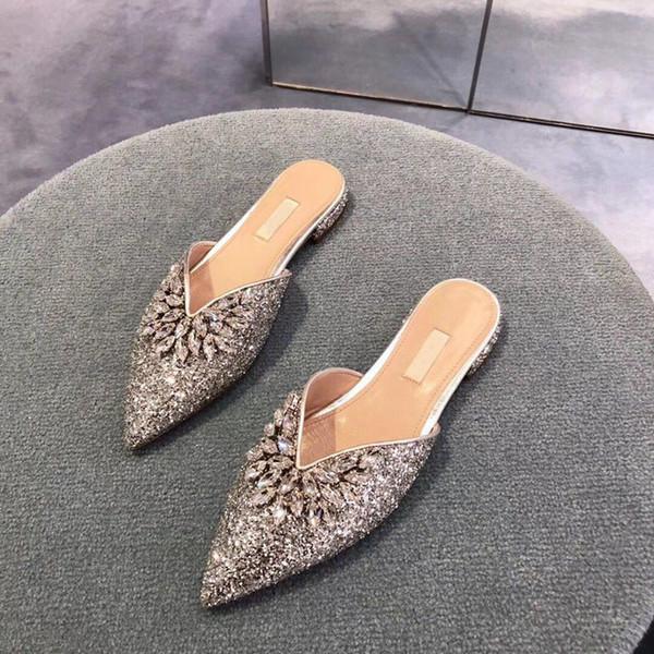 2019 Herbst Damenmode Crystal Embellished Mules flache Hausschuhe Mädchen kausalen Schlupf auf Gummi Rutschen Sandalen