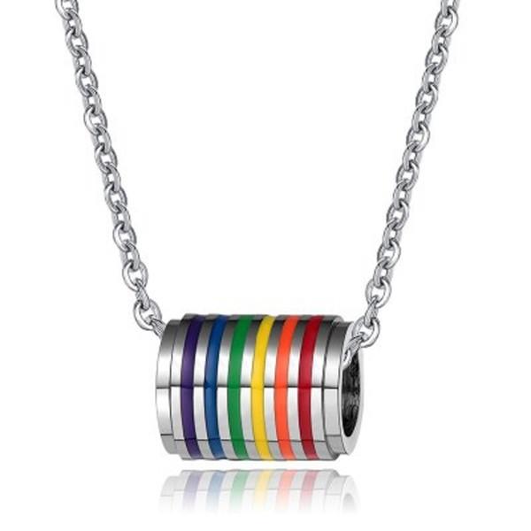 Gay Pride Rainbow Pendentif Colliers LGBT Lesbiennes Déclaration Cylindrique Pendentif Collier pour Hommes Femmes En Acier Inoxydable Bijoux Cadeau DHL