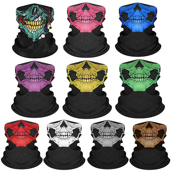 10pcs Bicycle Ski Skull Half Face Mask Ghost Scarf Multi Use Neck Warmer COD Halloween gift cycling outdoor cosplay accessories