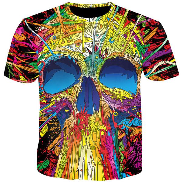 wholesale Colorful Skulls Tshirt 3D Print Men Women Waterfall Skulls Tee Shirts Summer Tops Harajuku Casual Streetwear T