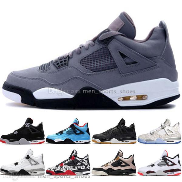 El más nuevo Bred 4 4s What The Cactus Jack Laser Wings Zapatillas de baloncesto para hombre Denim Blue Eminem Pale Citron Hombres Zapatillas deportivas de diseño al aire libre