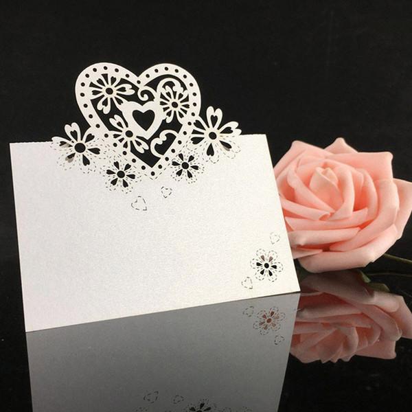 Lazer Kesim Kalp Şekli Tablo Adı Kart Yeri Kart Düğün Doğum Günü Partisi Dekorasyon Favor Düğün Davetiyeleri Destek Toptan