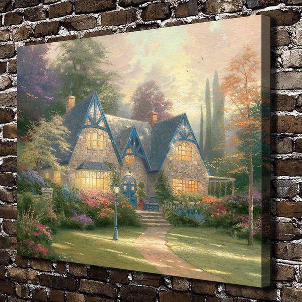 HD imprimé Thomas Kinkade peinture à l'huile décoration de la maison mur Art sur toile Winsor Manor sans cadre