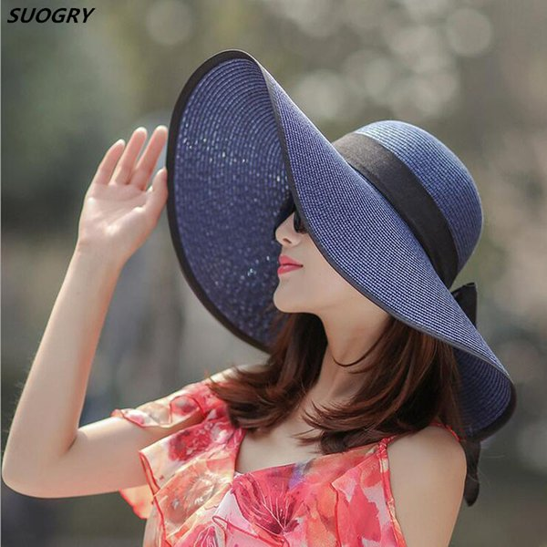 Fashion Straw Hat For Women Summer Casual Wide Brim Sun Cap With Bow-knot Ladies Vacation Beach Hats Big Visor Floppy Chapeau D19011106