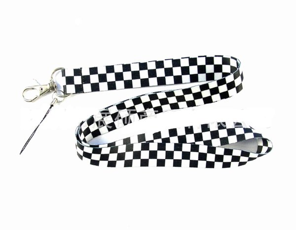 50PCS Black & White Grid key lanyards id badge holder keychain straps for mobile phone Free Shipping