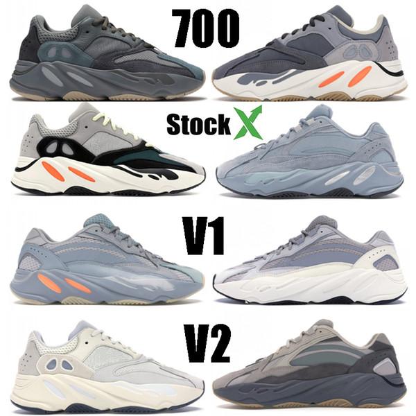 top popular Wave Runner 700 Teal Blue Magnet Kanye West Hospital Blue Solid Grey Mens Womens Running Shoes Analog Inertia Black Salt Designer Sneakers 2019