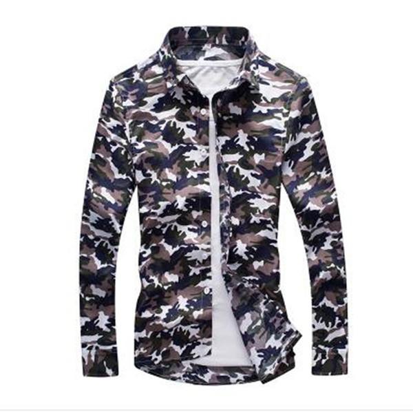 2019 Nouveau Printemps Hommes Casual Chemises De Mode À Manches Longues Marque Imprimé Button-up Affaires Formelles Polka Dot Floral Hommes Robe Chemise SH190827