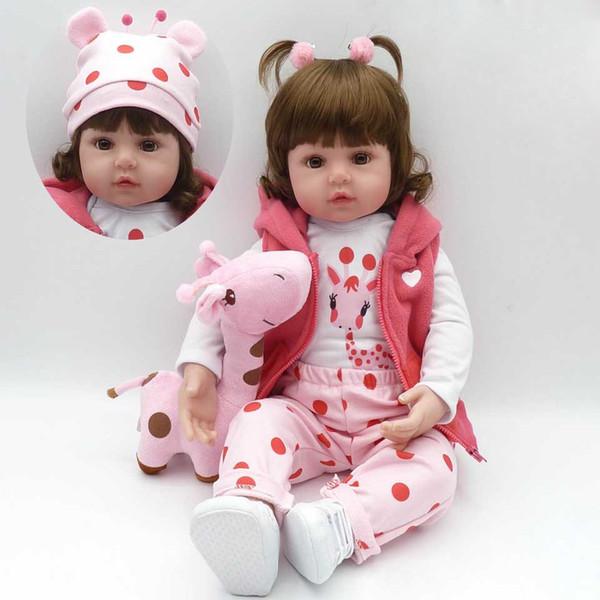 Gerçekçi Reborn Baby Doll Yumuşak Silikon Dolması Gerçekçi Baby Doll Oyuncak Etnik Doll Çocuklar Için